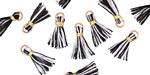 Black & White w/ Gold Binding & Jump Ring Tiny Thread Tassel 12mm