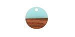 Walnut Wood & Sea Green Resin Coin Focal 15mm