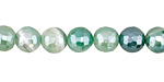 Green Line Agate w/ Silver Luster Faceted Round 8mm