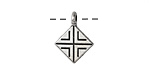 Antique Silver (plated) Geometric Diamond Pendant 13.5x18