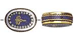 """Tibetan White Brass & Brass """"Wisdom Eyes"""" Oval Coin Bead w/ Lapis 22x17mm"""