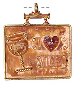 "Patricia Healey Copper ""I Love Wine"" Pendant 54x59mm"