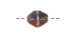 Tibetan Brass Bead w/ Lapis & Coral Mosaic 13-14x11mm