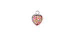 Metallic Hot Pink Crystal Druzy Heart Charm in Silver Finish Bezel 8x10mm