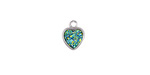 Metallic Green Turquoise Crystal Druzy Heart Charm in Silver Finish Bezel 8x10mm