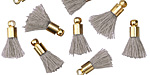 Concrete w/ Gold (plated) Bead Cap Tiny Thread Tassel 14mm