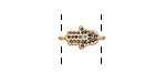 Satin Gold Finish Storm Mix Pave CZ Tiny Hamsa Focal Link 15x8mm