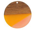 Walnut Wood & Sunrise Resin Coin Focal 38mm