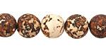 Tibetan (Dzi) Agate Matte Rust & White Molten Pattern Round 12mm