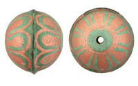 Hand Painted Patina & Copper Flower Leather Round Bead 26-29mm