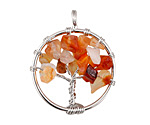 Carnelian Silver Finish Wire-Wrapped Tree of Life Pendant 28-29x35mm
