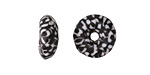 African Recycled Seed Bead Black & White Mosaic Donut 4-6x17-20mm