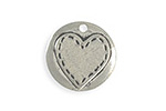 Vintaj Artisan Pewter Stitched Heart Blank 20mm