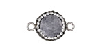 Glacier Druzy w/ Pave Wrap Coin Focal Link Set in Silver Finish Bezel 22x14mm