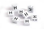 "White Enamel 2-Hole Tile Square Bead w/ Letter ""H"" 8mm"