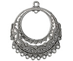 Zola Elements Antique Silver (plated) Ornate Bali Style Gypsy Hoop Chandelier Focal 36x41mm
