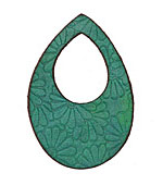 Lillypilly Sea Green Flower Embossed Leather Small Open Teardrop 34x50mm