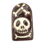 Earthenwood Studio Ceramic Skully Tombstone Pendant 24x43mm