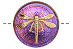 Czech Glass Electric Purple w/ Gold Dragonfly Button 31mm