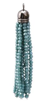Green Turquoise Crystal Tassel w/ Gunmetal Cap 9x68mm