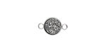 Metallic Silver Crystal Druzy Coin Link in Silver Finish Bezel 14x9mm