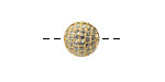 Gold (plated) CZ Micro Pave Round 10mm