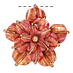 Patricia Healey Copper Stacked 5 Petal Flower Pendant 46mm