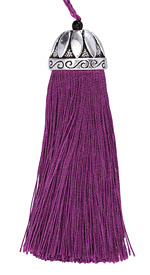 Zola Elements Violet Thread Tassel w/ Antique Silver (plated) Lotus Tassel Cap 20x75mm