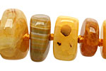 Yellow Line Agate Chunky Graduated Rondelle 7-15x12-24mm