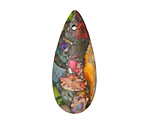 Mardi Gras (Mixed Impression) Jasper Teardrop Pendant 15x35mm