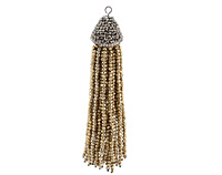 Metallic Gold Crystal Tassel w/ Fanned Pave Cap 21x105mm