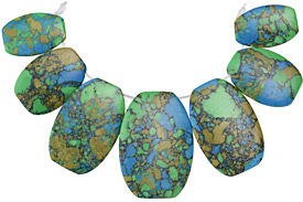 Turquoise Multi-Impression Jasper Bib Graduated Oval Pendant Set 20-35x30-50mm