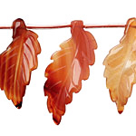 Carnelian (natural) Carved Ridged Leaf 15-17x30-35mm