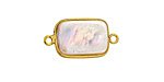 Pearly White Freshwater Pearl Rectangle Link in Gold Vermeil 22-25x12-14mm