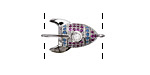 Sangria Mix Pave CZ Rhodium (plated) Rocket Ship Focal Link 22x12mm