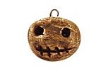 Earthenwood Studio Ceramic Crackle Root Skull Round Smile Pendant 24x23mm