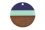 Walnut Wood & Nautical Resin Banded Coin Focal 28mm