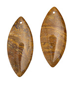 Natural Yellow Jasper Horse Eye Pendant Pair 18x42mm