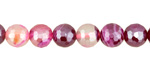 Ruby Line Agate w/ Silver Luster Faceted Round 8mm