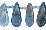 Pacific Blue Apatite Graduated Flat Teardrop 10-13x22-36mm