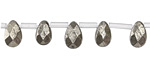 Golden Pyrite (silver tone) Faceted Flay Teardrop 6x9mm