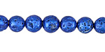 Metallic Electric Blue (plated) Lava Rock Round 8mm