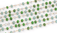 Beach Glass Mix Crystal 3mm Delicate Brass Bead Chain
