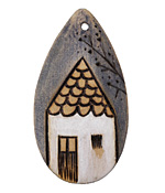 Summer Wind Art Thatched Humble House Wood Pendant 29x54mm