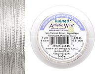 Twisted Artistic Wire Non-Tarnish Silver 24 gauge, 7 yards