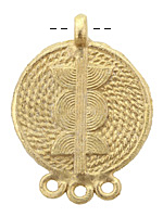 African Brass Braided Disc w/ Sun Design Chandelier Focal 42-43x58-60mm