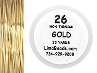 Parawire Non-Tarnish Gold 26 Gauge, 15 Yards