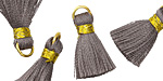 Gray w/ Gold Binding & Jump Ring Thread Tassel 17mm