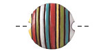 Golem Studio Funky Stripes Rainbow Carved Ceramic Lentil 23mm