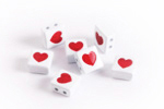 White Enamel 2-Hole Tile Square Bead w/ Red Heart 8mm